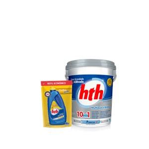 Compre um Cloro 10 em 1 hth® de 10 kg e ganhe um refil 900ml econômico Clarifica Maxfloc