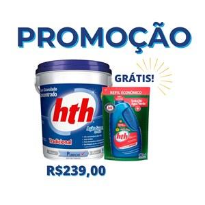 COMPRE UM hth® Cloro Tradicional 10kg e GANHE um Refil 900ml de hth® Previne Água Verde.
