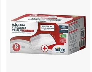 MASCARA DESCARTAVEL TRIPLA BRANCA TNT C/ ELAST E CLIP C/50PC NOBRE