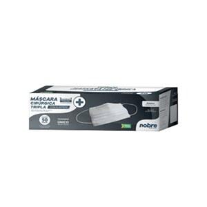MASCARA DESCARTAVEL TRIPLA BRANCA TNT REF 42368 CX/PRETA C/50PC NOBRE