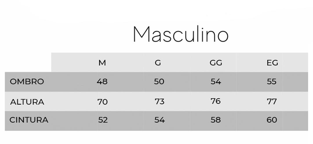 tabela medida masculino