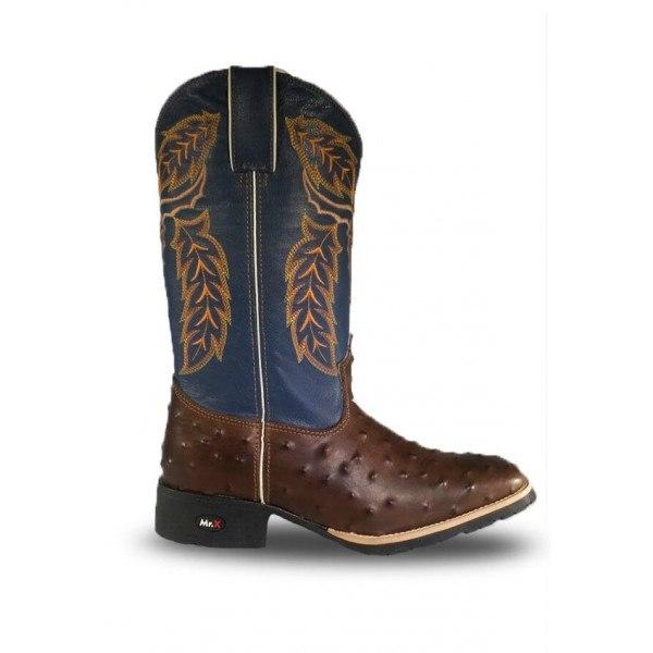 c1afe70e0ea Bota Masculina Mr West Couro Bovino Réplica de Avestruz azul - Texas 10