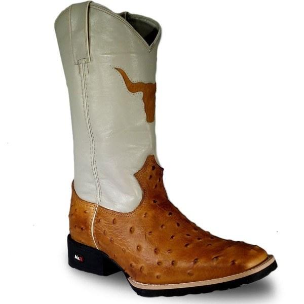 72e03c5d994 Bota Masculina Mr West Couro Bovino Réplica de Avestruz bege - Texas 10