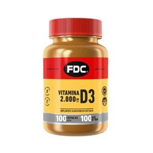 Vitamina D-3 2000UI 100 cápsulas     FDC     Vitaminas Express