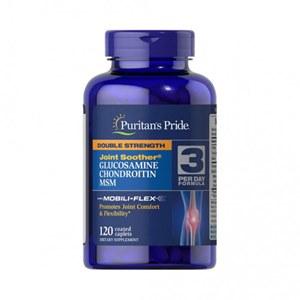 Glucosamina 1500MG + Condroitina 1200MG + MSM Força Dupla Puritan's Pride 120 cáps de ação rápida