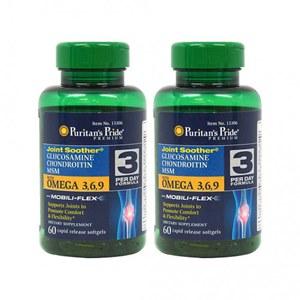 Glucosamina + Condroitina + MSN com Omega 3-6-9 Puritan's Pride (2 Frascos)