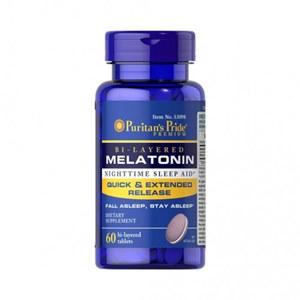Melatonina 5mg Camada Dupla (Efeito Rápido + Prolongado) Puritan's Pride - 60 Comprimidos