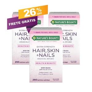 COMBO 3 Frascos | Cabelos, Pele e Unhas (Hair, Skin, Nails) Nature's Bounty | 250 caps