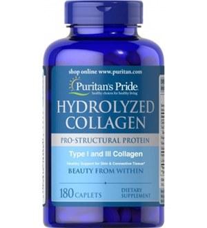 Colágeno Hidrolisado Tipo I e III 180 Cápsulas Puritan's Pride