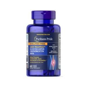 Joint Soother® Glucosamina, Condroitina e MSM com Ácido Hialurônico e Colágeno 60 cápsulas revestida