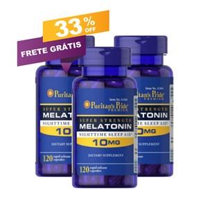 Combo 3 frascos Melatonina 10mg Puritan's Pride 120 cápsulas. Oferta Imperdível!!